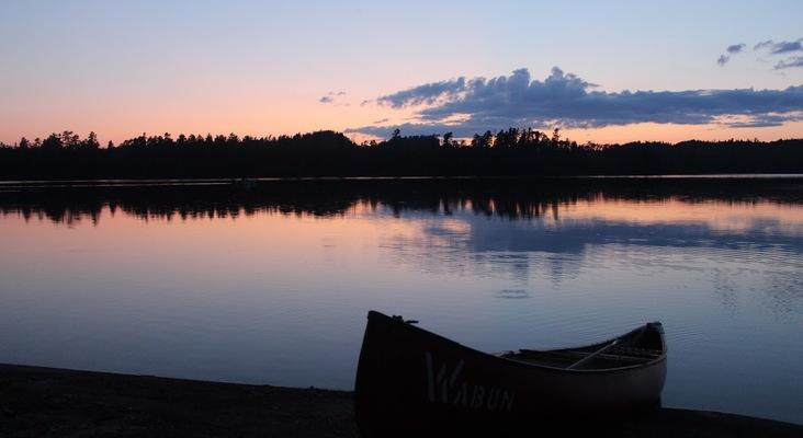 Resized canoe at sunset